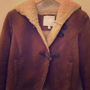 Anthropologie faux suede shearling coat